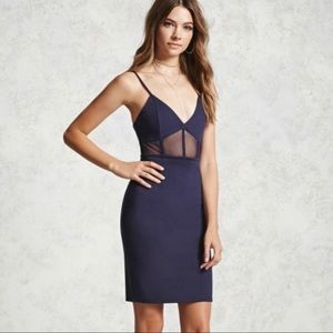Navy Blue Mesh Insert Bodycon Dress